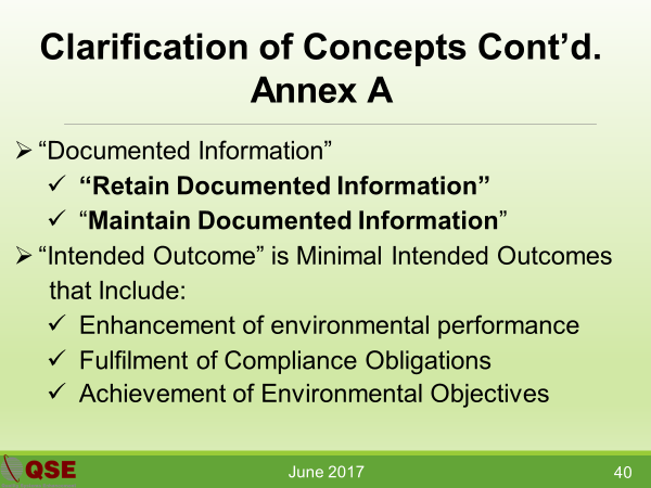 Clarifications for Concepts Covered in Annex A of ISO 14001:2015 Standard